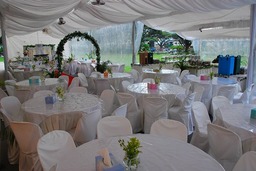 One of the key differences between wedding tent receptions and indoor