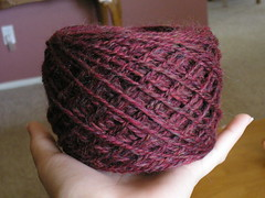 Ruby Twist spun and plied