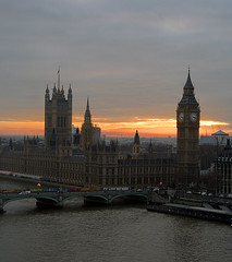 Aerial view of London and Big Ben - by atomicpuppy68