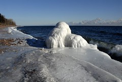 Northern Jellyfish Emerges From The Waters Edge! (jeanniepaul) Tags: blue winter white ice water frozen waves greatlakes lakesuperior northernjellyfish