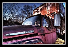 Ford Truck Lomo (sunsurfr) Tags: blue windows red sky ford window rural photoshop truck lomo nikon rust automobile colorful decay alabama frame d200 windshield hdr ruraldecay lomoeffect photomatrix nikonstunninggallery aplusphoto sunsurfr