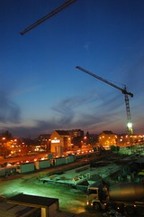 Building site at my work (KapcieBabci) Tags: city sunset urban building night lights crane buildingsite urbanlights