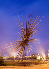 The B of the Bang (. Andrew Dunn .) Tags: uk longexposure england sculpture manchester dawn lights twilight britain steel explosion spike bang floodlights sportcity bofthebang thomasheatherwick cityofmanchesterstadium interestingness177 i500 challengeyouwinner aplusphoto crossoverlighting