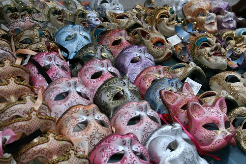 Masks on display at a booth at Carnevale