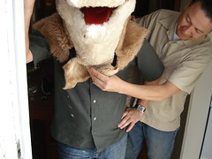 John helping The Horsehead get comfy (.Hollie.) Tags: horse la losangeles head mascot visits horsehead the