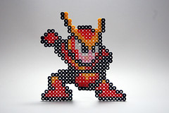 Quick Man (circa Mega Man 2) (B Tal) Tags: man game wow robot diy beads video cool thing object character videogames homemade videogame villain quick vignette lightbox perler mega megaman perlerbeads quickman