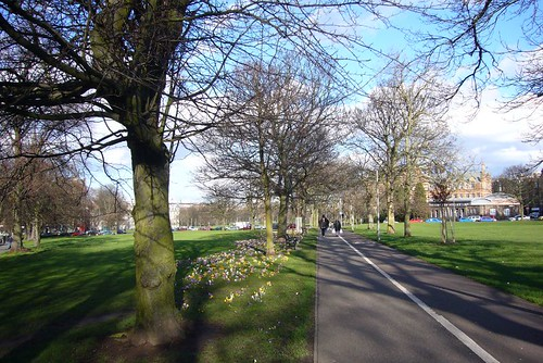 Bruntsfield Links attracts walkers and joggers alike on a beautiful day.