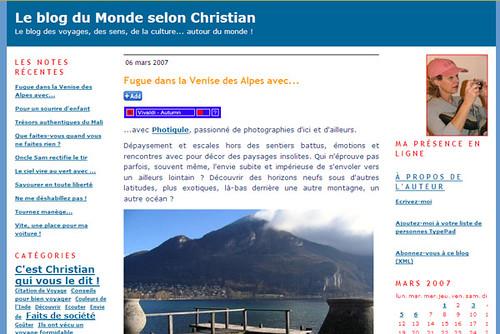 Le blog du Monde selon Christian (Par Christine Lecomte)