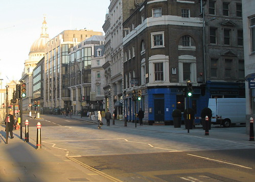 Cannon Street in the heart of the City of London in the early morning.
