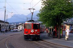 R12642.  618 at Chur. 16th April, 2003. (Ron Fisher) Tags: rhätischebahn graubünden chur ge44ii switzerland schweiz suisse metregauge narrowgauge schmalspurbahn voieetroite rail railway railroad transport train publictransport europe