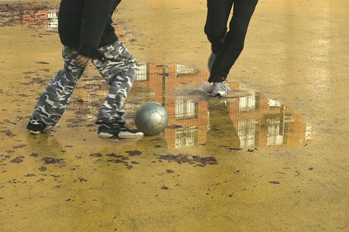 Street soccer puddle