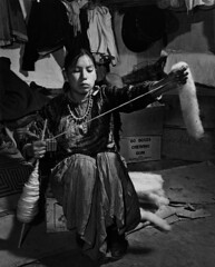 Navajo girl handspinning (John Collier Jr.) Tags: blackandwhite bw usa history classic film museum america vintage collier us photographer unitedstates propaganda wwii documentary patriotic roosevelt historic professional worldwarii 1940s archives maxwell ww2 americana civildefense patriotism archival forties largeformat anthropology homefront worldwar2 40s fsa wartime newdeal owi waryears farmsecurityadministration officeofwarinformation johncollierjr