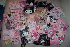 Kuromi and My Melody (mariana929) Tags: pencils stickers sanrio towels pens stationery purses mymelody kuromi kuromisuitcase