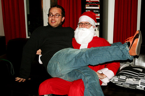 time for Mike to sit on santa's lap