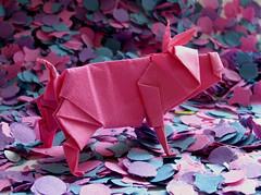 Happy New Year! (steffi's) Tags: pink paper happy pig origami papel papier carta schwein folding happynewyear maiale 折紙 おりがみ 折り紙 glücksschwein isaohonda かみ 纸的 origamipig origamischwein