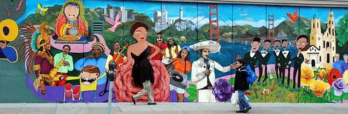 mission mural + pedestrians