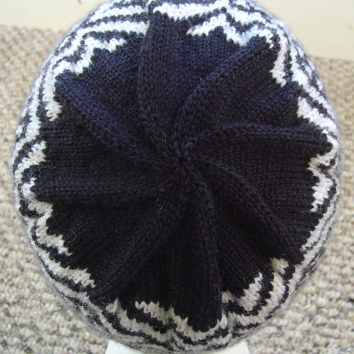 Sage's hat and mitten set - top of hat