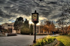 Clock at the Duck Pond (JoelDeluxe) Tags: newmexico buildings campus albuquerque joeldeluxe hdr unm duckpond universityofnewmexico pastpresidents golobos superbmasterpiece clockattheduckpond