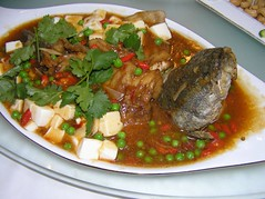 Fish and doufu (Ian Riley [on the right side of the fence]) Tags: china food fish tofu chinese peas kunming yunnan coriander doufu