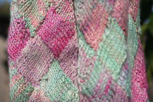 Hand-dyed, Handspun Entrelac Soy Silk Scarf - detail