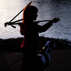 a boy - a tripod - a dog - a sunset - a pond (Norma Desmond) Tags: boy sunset dog sunlight tripod sillouette utatasilhouette thestorytellersgroup:author=~julian