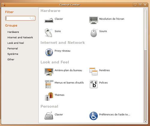 Le centre de configuration de Gnome 2.17.5 sous la Ubuntu Feisty Fawn Herd 2