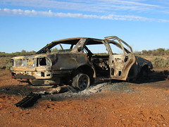 burned car (kamikadse) Tags: sky cloud brown car clouds geotagged desert silverton himmel australia dirt nsw outback braun recycling burned brokenhill reddirt throwawaysociety kamikadse verbranntesauto