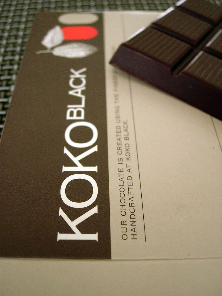 A block of Koko Black 60% Dark chocolate