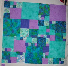 Queen bed quilt top right - design wall