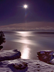 Moonrise at Cave Point (James Jordan) Tags: longexposure winter moon snow cold ice topf25 night wow lakemichigan jordan moonlit freeze lunar doorcounty jamesjordan anawesomeshot diamondclassphotographer flickrdiamond healthylivingrituals