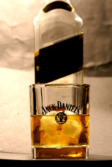 Johnnie walker in a Jack Daniels glass (ChrisBrookesPhotography.co.uk) Tags: old uk chris black macro glass lens jack photography bottle no label 7 sigma whiskey walker daniels whisky johnnie bourbon brookes 105mm