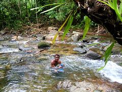 Местный абориген купается в речке.