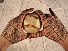 scoring the game (Boston Wolverine) Tags: ink writing ball code hands symbol baseball text hold scorecard scoring