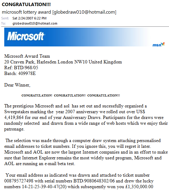 Spam message from Microsoft Award Team