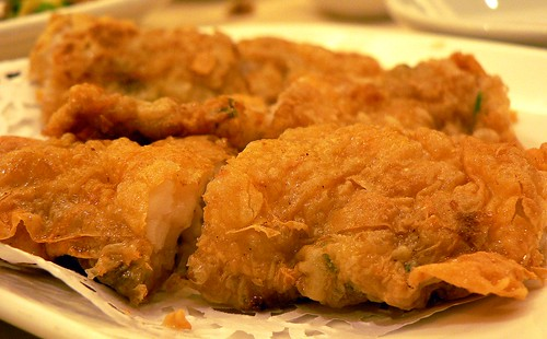 fried prawn fritters in foo chuk skin