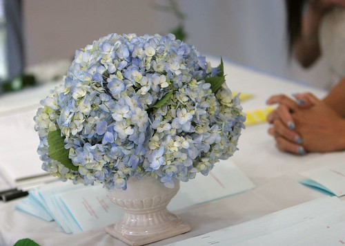 Reception table flower arrangement