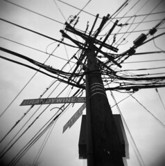 brandywine 022807 (rachelmoon) Tags: bw 120 washingtondc holga powerlines cables winner dcist 2008 telephonepole exposed tenleytown brandywine usedondcist 2008dcistexposedwinner