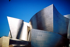 Disney Dimensionality (Ghost-Rider) Tags: leica beautiful architecture la losangeles unusual portra magnificent disneyhall ghostrider minilux laphilharmonic geometryinarchitecture geometriegeometry laphilarmonic architectureinwonderland