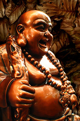 The Laughing & Lucky Buddha! A stroke of Luck! (williamcho) Tags: sculpture bronze photoshop temple buddha eyeofthebeholder canona640