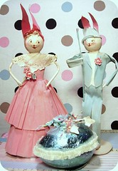 vintage crepe paper bunnies from japan 1940's (holiday_jenny) Tags: pink flowers blue rabbit bunny bunnies japan vintage paper antique foil egg pipe crepe rabbits cleaner chenille millinery