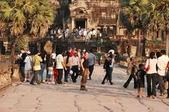 Crowds visiting Angkor Wat