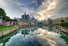 Clark Quay Reflected (DanielKHC) Tags: water sunrise reflections river dawn bravo singapore day searchthebest cloudy hdr clarkquay blueribbonwinner photomatix splendiferous supershot tonemapped 5xp outstandingshots abigfave artlibre anawesomeshot colorphotoaward superaplus aplusphoto hdrenfrancais 200750plusfaves superbmasterpiece wowiekazowie diamondclassphotographer flickrdiamond bratanesque danielkhc