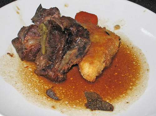 Star anise-braised beef shortribs with black truffles and truffle risotto cake