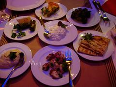 Greek appetizers (Suviko) Tags: shopping greek restaurant helsinki kamppi 2006 olives octopus appetizers pita minos tzatziki dolmades