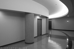 Lindner Conference Center (Jim Frazier) Tags: trip travel november blackandwhite bw abstract building architecture buildings tile hall illinois shiny interior structures meeting 2006 structure hallway seminar walls curved lombard q3 fragment conferencecenter bwset lindnerconferencecenter miscnovember2006 ©jimfraziercom