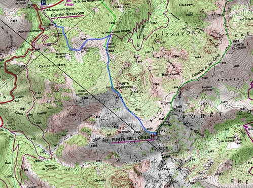 Carte des environs Vizzavona - Punta di l'Uriente