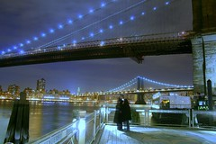Brooklyn (Farl) Tags: nyc newyorkcity longexposure travel bridge blue ny newyork colors brooklyn night marina lights harbor us manhattan brooklynbridge manhattanbridge eastriver empirestatebuilding pilings embrace huddle rivercafe brooklynicecreamfactory traveltip pkchallenge