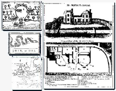 Ejemplos de las primeras infografías publicadas en periódicos: (en grande) La casa de Mr Blight; (en pequeño de arriba a abajo) El ataque a Portobello, Snake Device y el primer mapa meteorológico