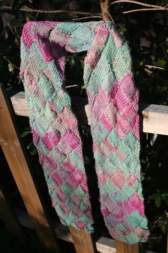 Hand-dyed, Handspun Entrelac Soy Silk Scarf - finished!
