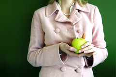 Jan. 9 (Grammar) (romanlily) Tags: pink portrait woman apple hands poem suit meredith manicure tonyhoagland 2007photos